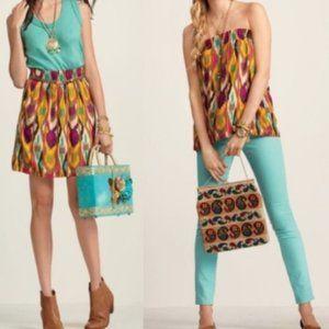 CAbi Style #359 Bella Ikat Tribal Print Skirt L